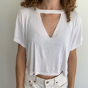 Olivaceous Crop V-Neck Cutout Crop Tee